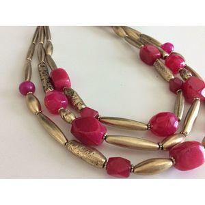Chicos Gold Multi-Layer Rhinestone Collar Necklace